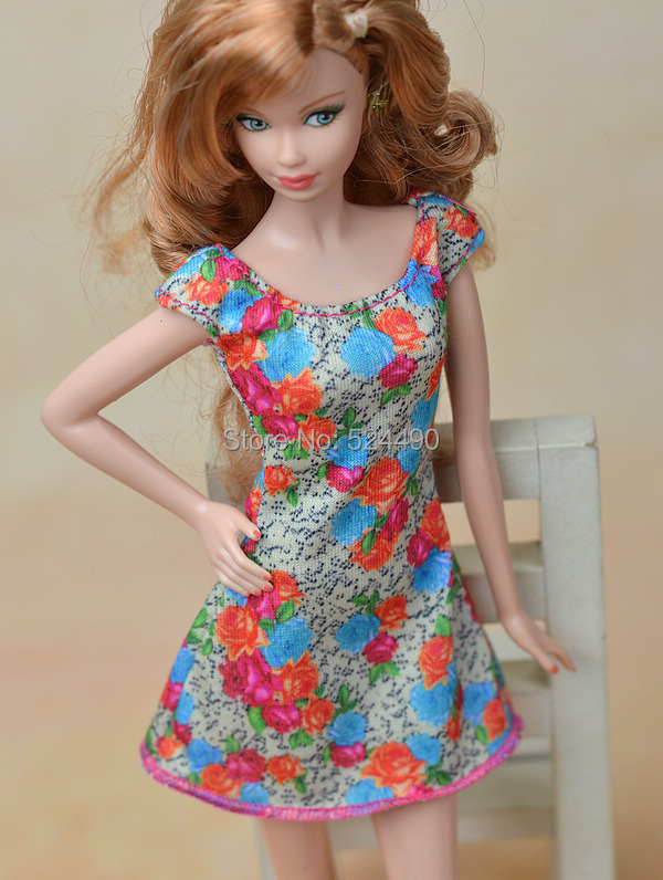 New 2015 Unique Colorized Flower Floral Skirt Costume Leasure Put on Clothes Garments Outfit For Kurhn Barbie Doll Child Toy Reward