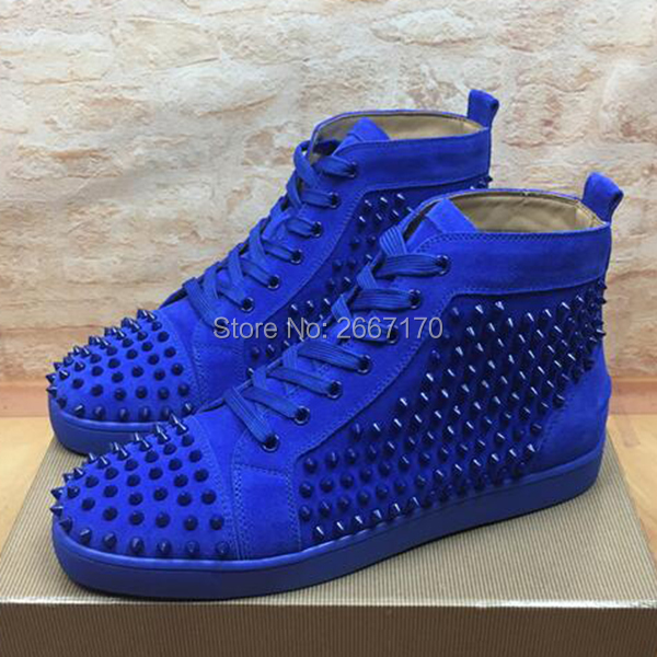 db378b63b3 US $74.9 30% OFF|Fashion Superstar High Top Mens Sneakers Shoes Casual  Rivet Studded Flats Men's Trainers Lace Up Ankle Boots Spiked Shoes Men-in  ...