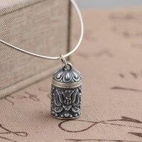 Tay gümüş S925 gümüş kolye kutusu toptan yeni hediye Kolye açabilirsiniz gawu antik mat süreci