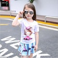 2016 Fashion Summer Children Clothing Sets Kids Girl Boutique Outfits Print Floral Short Sleeve Cotton Tops shorts Suits Clothes