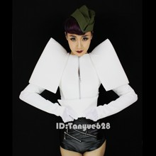European and American Star Models With Costumes DS Singer DJ Atmospheric Modeling Exaggerated Shrug PU Costumes For Women's