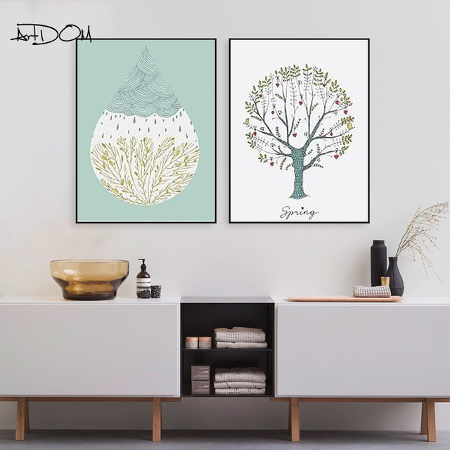 Artdom No Framed Nordic Country Style Tree Art Canvas Poster Prints ...