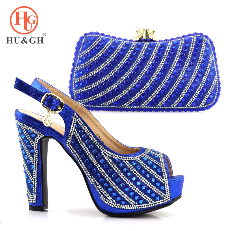 2018 Latest Italian African Women Party Shoes And Bag Sets With Stones Pumps Royal Blue Matching Shoes And Clutch Bags for lady