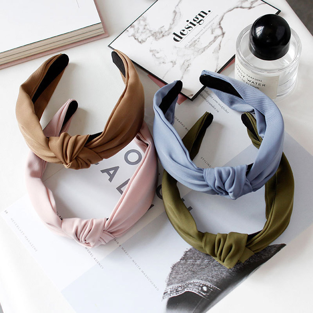 Women Fashion Korean Hairband Female Girls Casual Bezel Cloth Cross Knot Solid Color Hair Accessories   Headwear   Turban