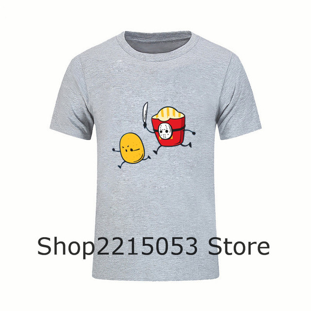 0068034d Top Tee fast food french fries serial killer T shirt 2019 fashion Men white  t-shirts Skateboard funny streetwear clothing tshirt