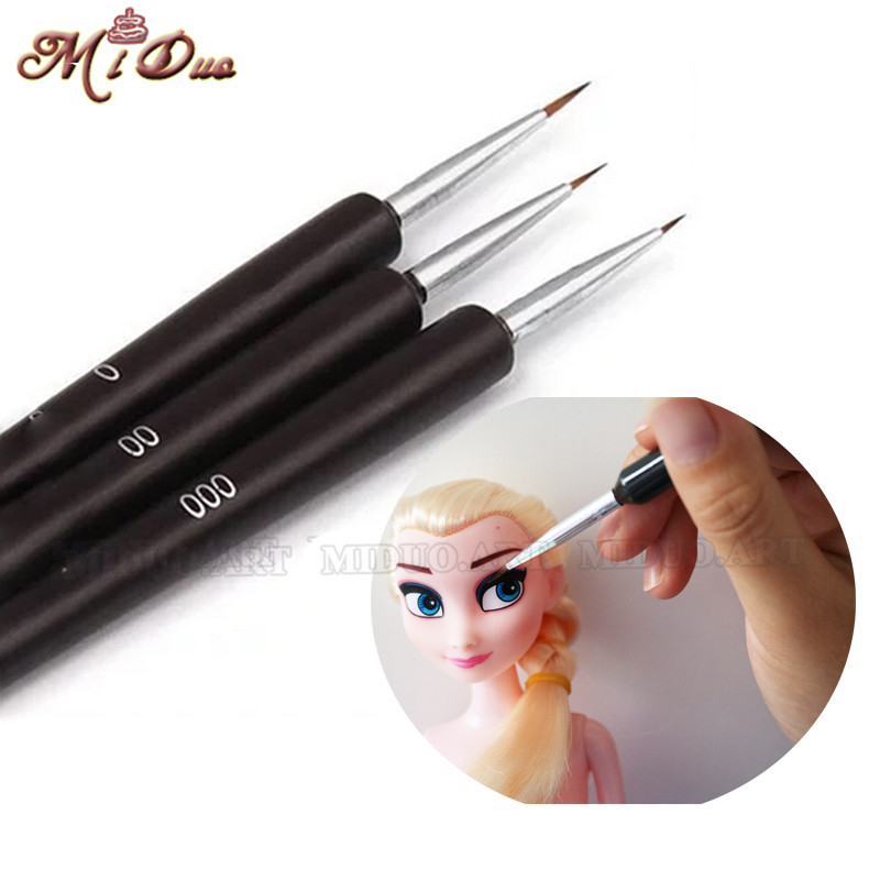 3 st Cake Decorating Brush Set Fondant Face Mögel Gumpast Flower Coloring Tool Icing Cupcake Sockercraft Dessert Pastry Verktyg
