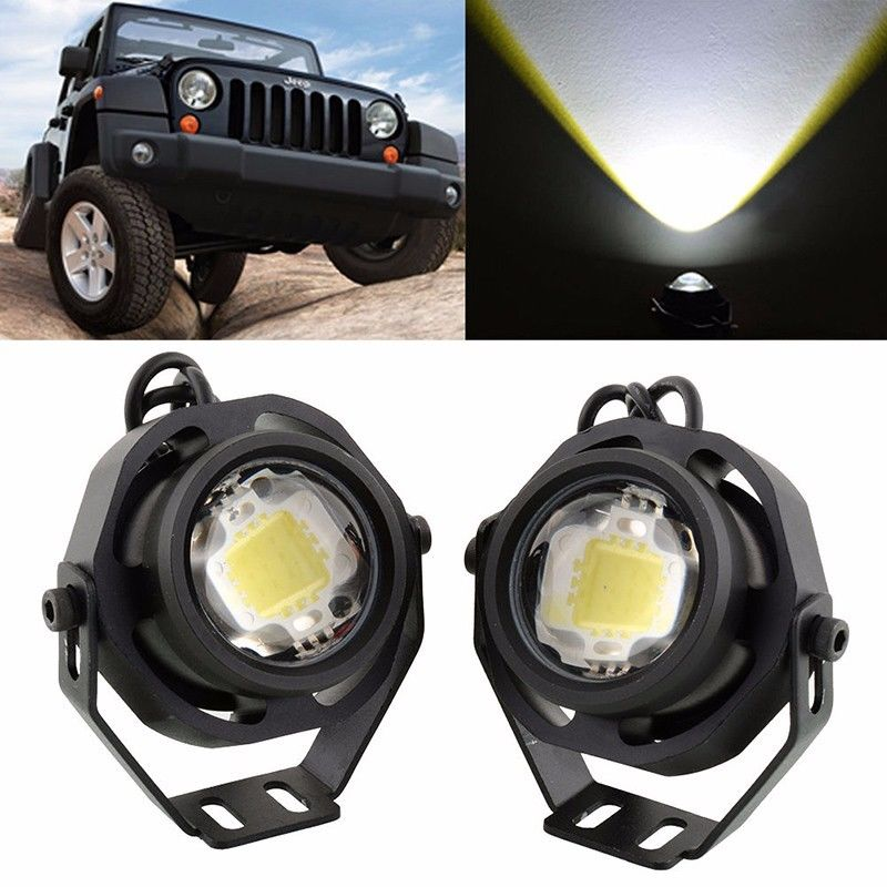 2Pcs LED Eagle Eye Work Light 10W Car Fog Daytime Running Light Waterproof Car DRL Reverse Backup Parking Lamp Motor Car Lamp  1 pair 2000lm 20w cree chips drl led eagle eye car fog daytime running reverse backup parking light lamp ip67 waterproof