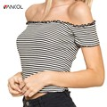 vancol 2017 slim sexy slash neck t shirt women solid color basic tshirt summer top cropped for women short striped shirt