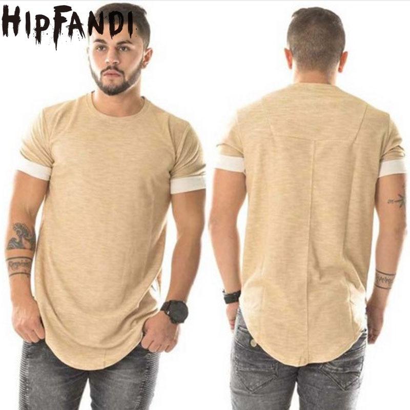 HIPFANDI Fashion T shirt homme Mens T shirt Hip Hop Swag T shirt Streetwear merek-Pakaian aprikot Pria padat T-shirt Hip Hop