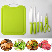 Memokey 6pcs/set Stainless Steel Kitchen Knives Chef Knife Sets cutting board Utility Bread Cooking Tools Scissors B