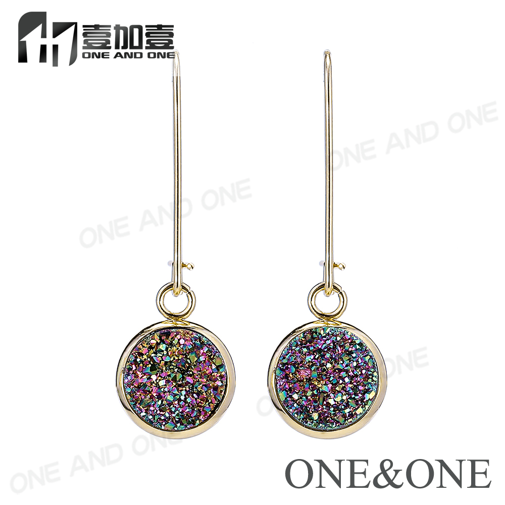 Newest Druzy Quartz Earrings Fasion Women Jewelry Natural Drusy Eardrop Round 10mm Rose Gold Hand Make Jewelry For Gift/Party