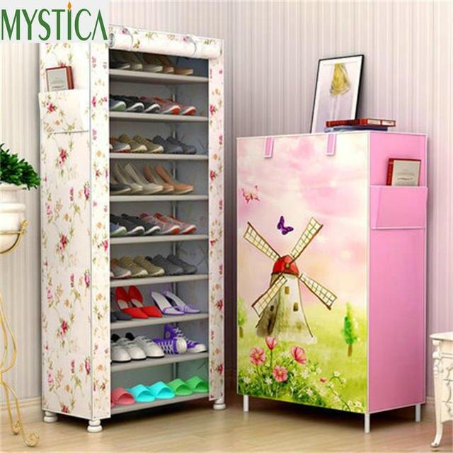 Home Large Capacity Shoe Rack Storage Dustproof Multilayer Cloth Shoe Shelf  Organizer Cabinet Furniture DIY Simple