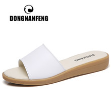 DONGNANFENG Women's Female Ladies Woman Genuine Leather Shoes Sandals Slipper Outdoor Slip On Summer Cool Beach Casual YC-239(China)