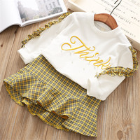 Hurave 2018 spring kids new Baby Girl Solid Long Sleeve ruffles embroiday T Shirt+plaid skirt suits Clothes Children sets
