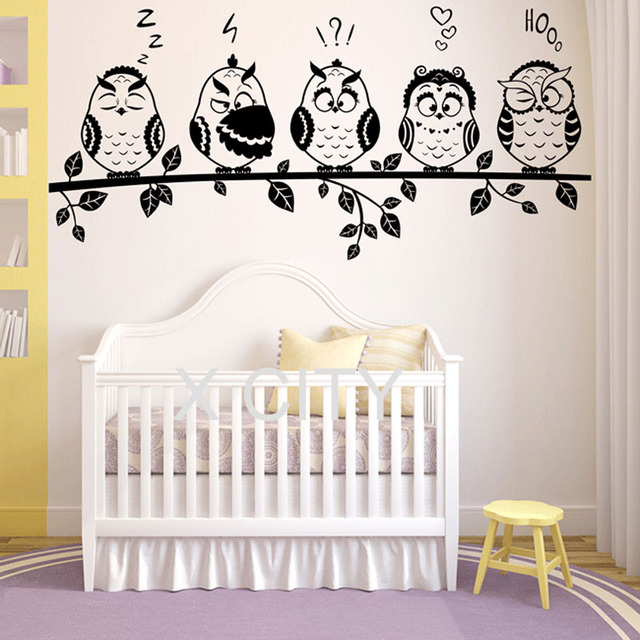 funny owl family emoticon fairytale adorable children bedroom wall art sticker vinyl cut transfer decal home - Childrens Bedroom Wall Decor