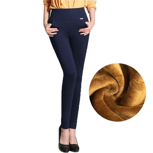 High Waist Fleece Thick Women's Pencil Pants Black Stretch Bodycon Long Trousers for Women 2018 Autumn Winter Clothes Plus Size