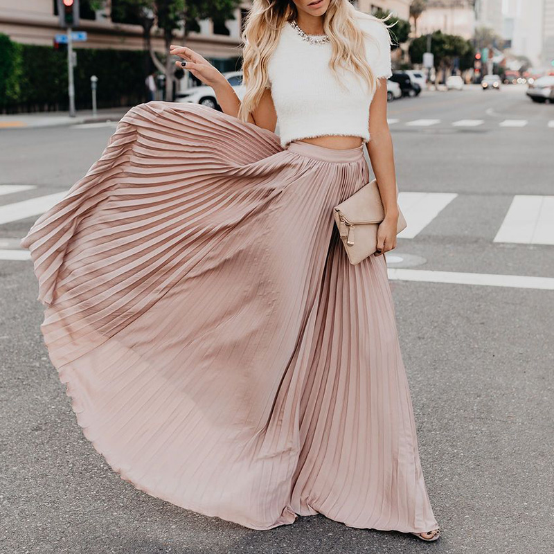 Women Skirts Casual Ladies Skirts  A Line Full Length High Waist Skirt Flared Pleated Long Maxi Skirt