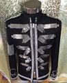 Fashion Men's Black Slim Sequins Jacket costume Nightclub bar Male Singer Performance Stage coat jazz dance blazer