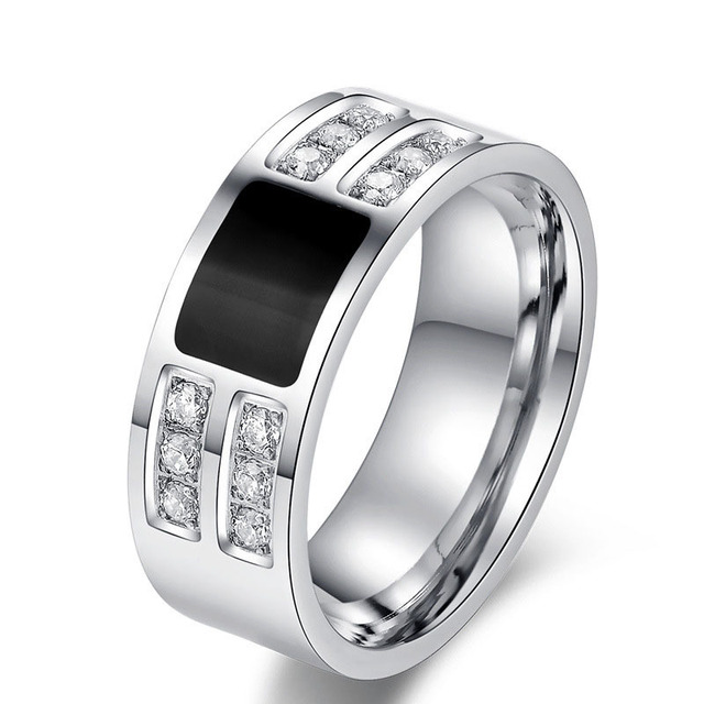 Mens Ring Wholesale Stainless Steel Black Sliver Cz Diamond Male Wedding Band Ring Party Jewelry