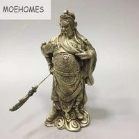 MOEHOMES Chinese Silver Dragon Head Loyalism Warrior GuanGong Guan Yu God Statue metal handicraft