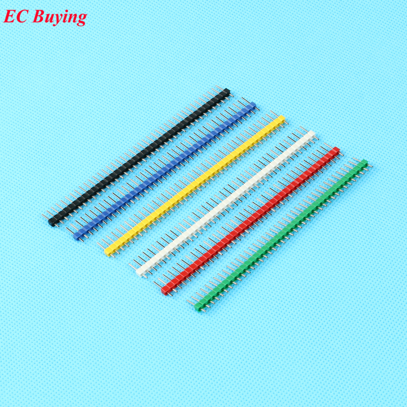 12pcs/set 2.54mm Black + White + Red + Yellow + Blue + Green 1X40 Single Row Pin Male Header Strip Copper-Plated Colorful