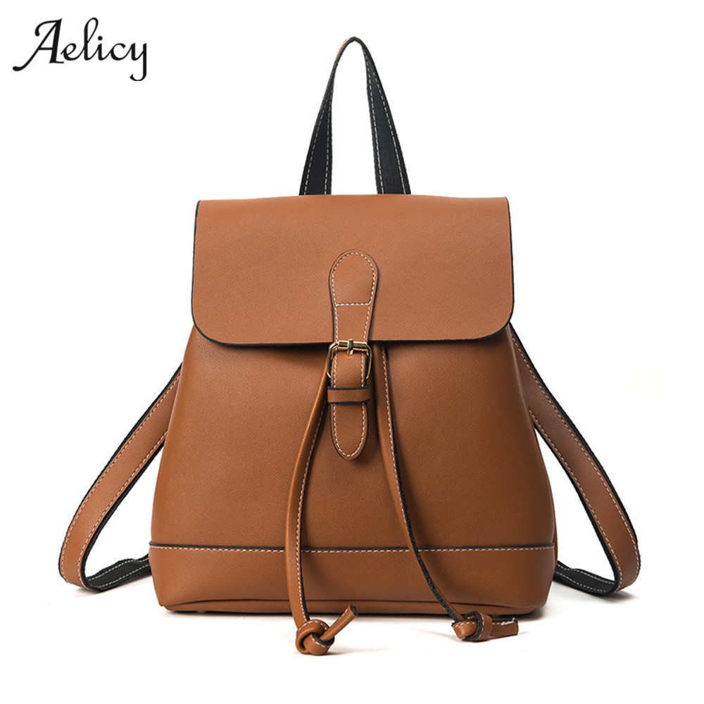 Aelicy Fashion Vintage Simple Style Backpack Women PU Leather Backpacks luxury women bags designer high qualityAelicy Fashion Vintage Simple Style Backpack Women PU Leather Backpacks luxury women bags designer high quality