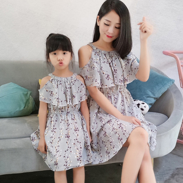 2 Wearing Styles Mother Daughter Dress Family Matching Clothing Summer Good Chiffon Dresses Gray Matching Mom Daughter Dress