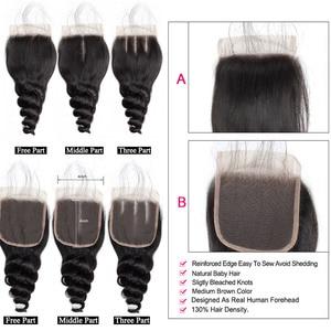 Image 4 - Allove brezilyalı gevşek dalga demetleri ile kapatma şeffaf kapatma demetleri ile gevşek kıvırmak demetleri ile kapatma olmayan Remy saç