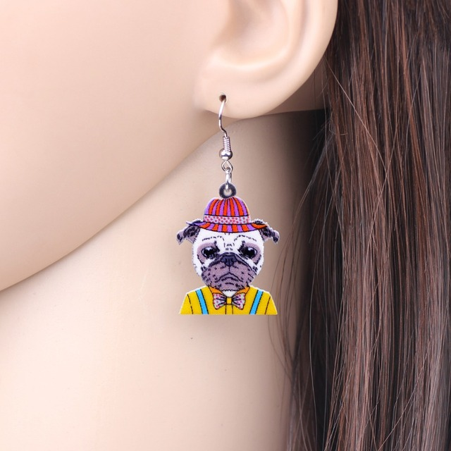 Creative Pug Shaped Drop Earrings
