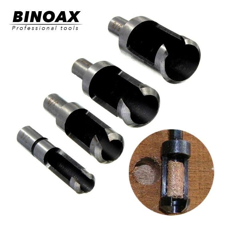 BINOAX 4pcs Carbon Steel Carpenter Woodworker Hole Wood Plug Cutter Cutting Power Tool Wooden Drill Bit 6/10/13/16mm W