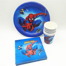 40p/set Spiderman Birthday Party Supplies Plate Cup Napkin Disposable Tableware Favor Decoration Cake Dishes