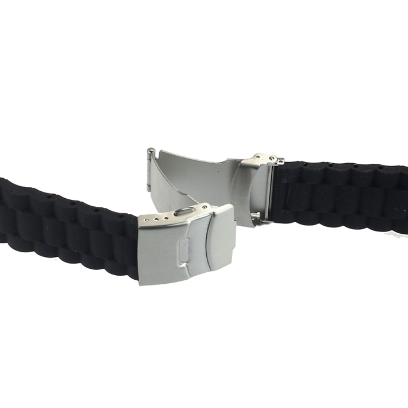 Excellent Quality New Arrival Waterproof Black Silicone Rubber WatchWrist watch Strap Band Replacement Clasp 20/22/24mm