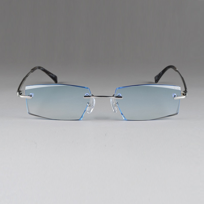29b3dc3421 Spectacle glasses assembling TR titanium gradient color MR 8 lenses men  male rimless myopia Finished prescription glasses lentes-in Prescription  Glasses ...