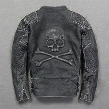 New Man Vintage Skulls Leather Motorcycle Jacket Black Stand Collar Genuine Cowhide Slim Fit Men Biker Coat  Size M-3XL