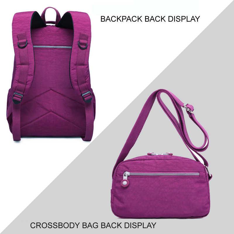 Tegaote 2 pçs conjunto de saco de náilon mochila feminina saco de escola para adolescentes meninas mochila ombro composto mochila mochila feminina