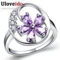 Uloveido Brincos Flower Silver Strass Ring Women Jewelry Purple Stones 2016 Semi Joias Anillos Mujer Bague Female Ring J336