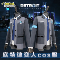 Game Detroit: Become Human Connor Cosplay Costume RK800 Agent Suit Halloween Carnival Uniforms Men's Formal Coat+Tie Custom Made