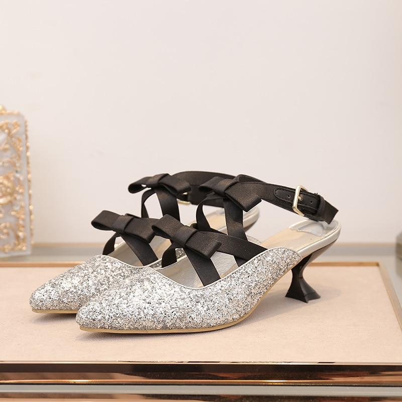 Glitter Orteil Terre Avec Pointu or Med Femmes Marque argent Arc Dame D'été Paillettes Talon Sandales Noir Chaussure Étoiles Bling Chaussures qAZv4