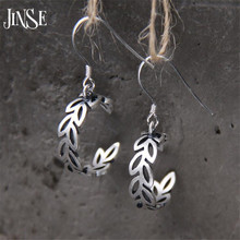 JINSE Fashion S925 Sterling Silver Olive Branch Earrings Cute Sterling Silver Jewelry Plant of Olive Branch Earrings For Women