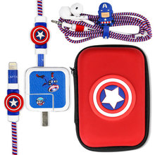 Cute Cartoon USB Cable Earphone Protector Set With Box Winder Stickers Spiral Cord For  iPad Phone