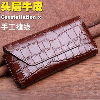 Genuine Leather Case for Vertu Constellation X Handmade Design Flip Phone Bag Constellation x Crocodile Fundas Skin Coque фото