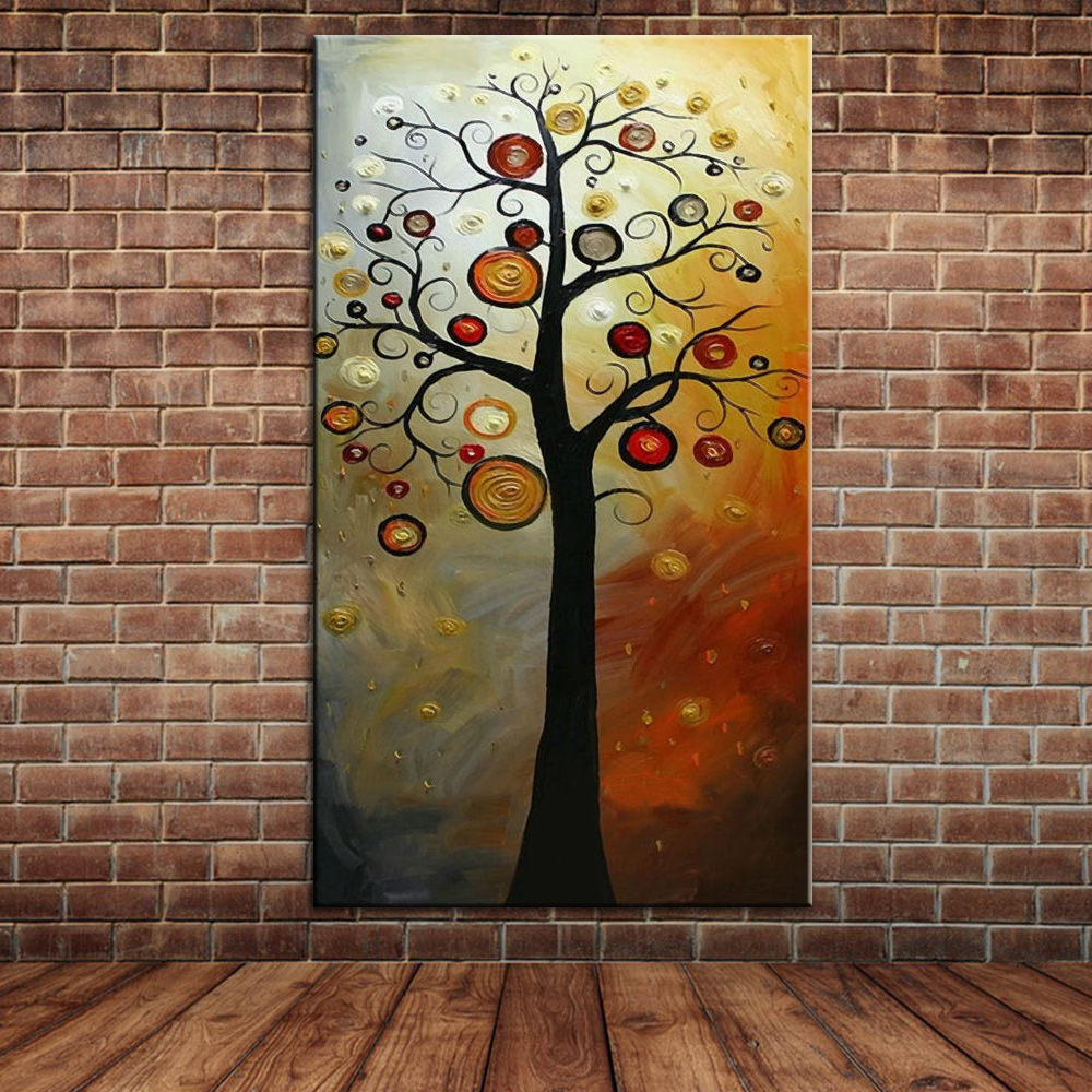 Abstract money tree oil painting modern large canvas art for Decorative mural painting