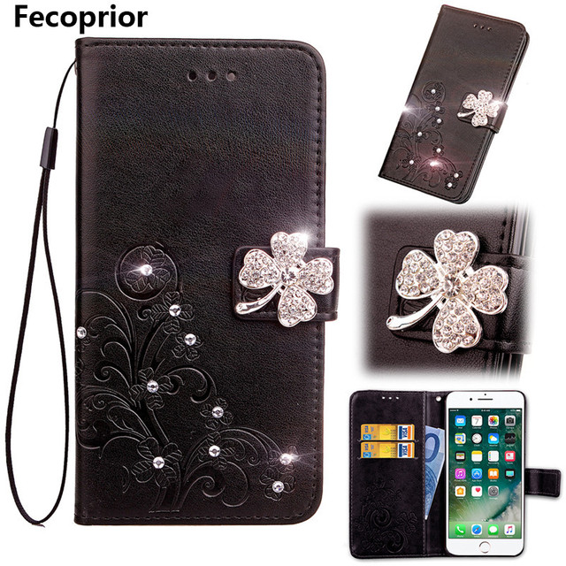 Fecoprior Case For BlackBerry KEYone Black Berry Mercury Back Cover Jewelled Bling Leather Filp Lucky Leaf Card Holder Stand