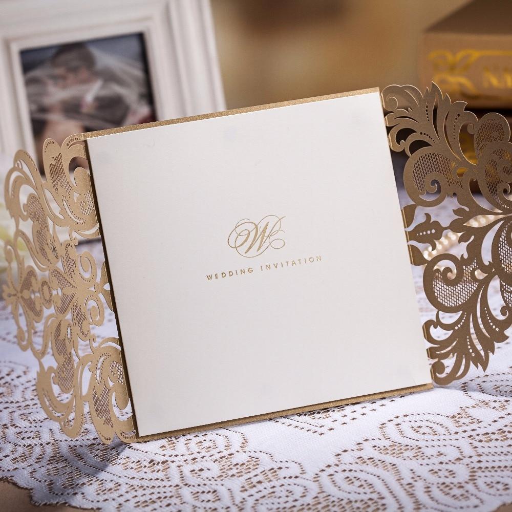 WISHMADE Hot Sale Laser Cut Copper Wedding Invitation Card in Gate