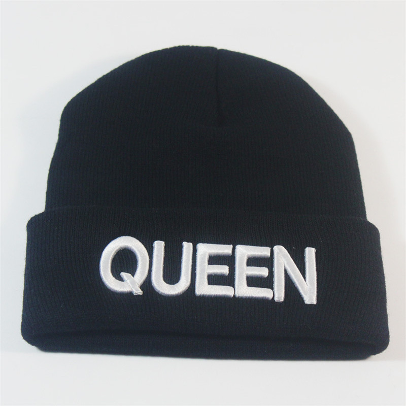 Men Women's Winter Hats Queen King Letter Lovers Cap Board Skating and Skiing Knitted Beanies Hat Warm Outdoor Cap touca inverno лыжи беговые tisa race cap skating