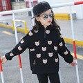 New Girls Sudaderas Con Capucha de Lana 2016 Niños Abrigos Niños Oso Espesar Invierno Niño Del Algodón Del Bebé Superior Sweatershirt