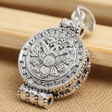 925 pure silver jewelry vintage thai silver box lotus disc Women necklace pendant
