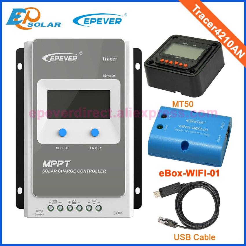40A 12 V/24 V MPPT Panneau Solaire Batterie Régulateur de Charge avec MT50 wifi fonction et USB câble Traceur 4210AN