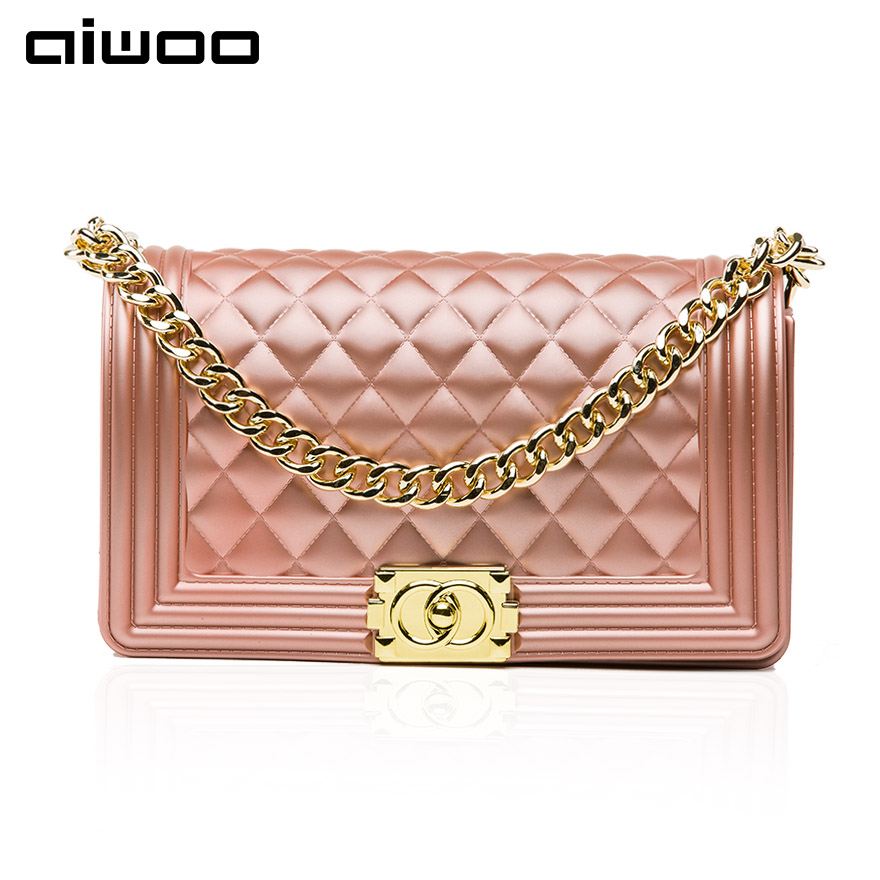 aiwoo women messenger bags diamond lattice pattern solid colour hasp pvc shoulder bag with metal chain
