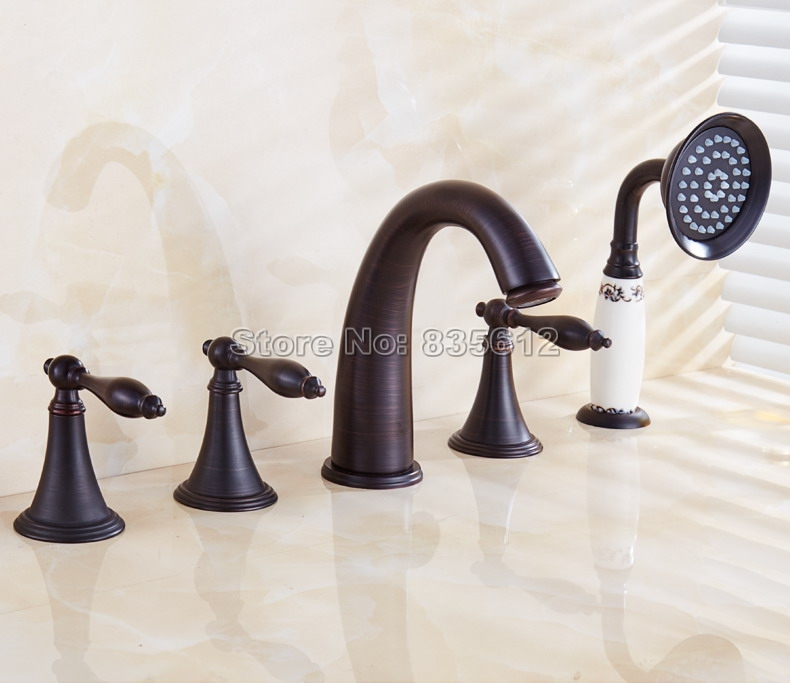 NEW Black Oil Rubbed Brass Bathroom Roman Tub Faucet 5 Hole Deck Mounted Mixer Tap Set With Ceramic Handheld Shower Wtf055 new arrival w led light changing bathroom tub faucet dual handles oil rubbed bronze mixer tap vintage shower faucet deck mount